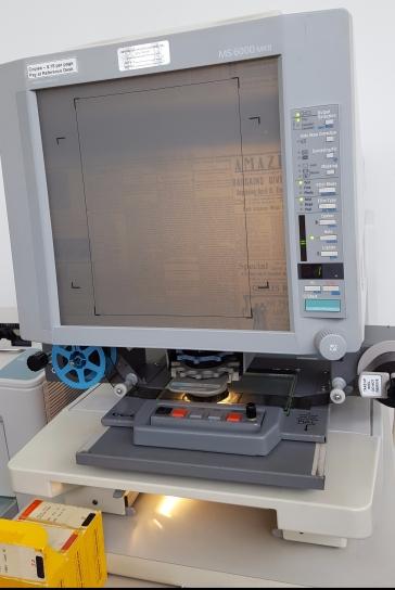 The microfilm machine at Michigan City Public Library