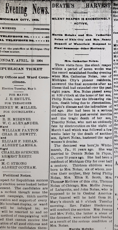 Obituary for Catherine Nolan in the Michigan City Evening News. Dated April 25, 1904.